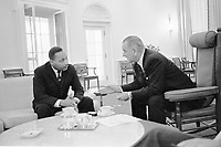 Washington, USA - File Photo - Martin Luther King (L) and US President Lyndon B Johnson (R) meet at the White House  in 1963