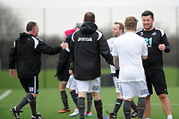 Pictured: Ashley Crowden. Wednesday 13 December 2018<br /> Re: Coaching staff v Members of the press game at the Fairwood Training Ground, Wales, UK.