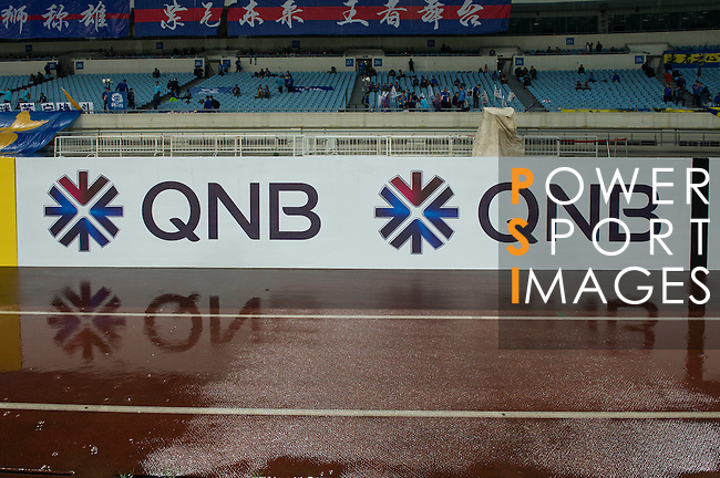 Branding at the stadium before the game between Jiangsu Sainty (CHN) and Becamex Binh Duong (VIE), part of the AFC Champions League Group E on 20 April 2016 at the Olympic Sports Centre in Nanjing, China. Photo by Lucas Schifres / Power Sport Images