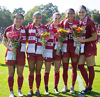 STANFORD, CA - October 21, 2018: Averie Collins, Alana Cook, Tegan McGrady, Michelle Xiao, Jordan DiBiasi at Laird Q. Cagan Stadium. No. 1 Stanford Cardinal defeated No. 15 Colorado Buffaloes 7-0 on Senior Day.