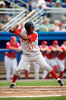 Brooklyn Cyclones outfielder Eudy Pina #33 during a game against the Batavia Muckdogs at Dwyer Stadium on July 25, 2012 in Batavia, New York.  Brooklyn defeated Batavia 3-2.  (Mike Janes/Four Seam Images)