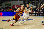 Real Madrid´s Sergio Rodriguez and Galatasaray´s Arroyo during 2014-15 Euroleague Basketball match between Real Madrid and Galatasaray at Palacio de los Deportes stadium in Madrid, Spain. January 08, 2015. (ALTERPHOTOS/Luis Fernandez)