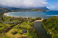 Hanalei River, Pier, Beach and Bay on Kaua'i.