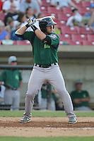 Beloit Snappers catcher Matt Koch #21 bats during a game against the Kane County Cougars at Fifth Third Bank Ballpark on June 26, 2012 in Geneva, Illinois. Beloit defeated Kane County 8-0. (Brace Hemmelgarn/Four Seam Images)