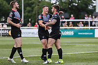 Andy Ackers of London Broncos (right) celebrates after he scores his first try of the game to make the score 46-16 during the Kingstone Press Championship match between London Broncos and Sheffield Eagles at Castle Bar , West Ealing , England  on 9 July 2017. Photo by David Horn.