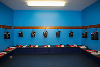 Red dressing room ahead of the Celebrity football match in aid of the charity's 'Keep Moving Forward' programme which benefits people with mental health issues put together by Wycombe Wanderers Sports & Education Trust and Sellebrity Soccer Football Match at Adams Park, High Wycombe, England on 7 April 2019. Photo by David Horn.