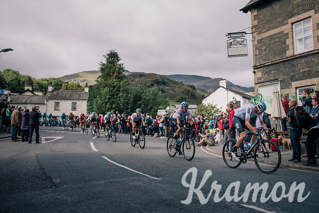 Chris Froome (GBR/SKY) rolling through town<br /> <br /> Racing in/around Lake District National Parc / Cumbria<br /> <br /> Stage 6: Barrow-in-Furness to Whinlatter Pass   (168km)<br /> 15th Ovo Energy Tour of Britain 2018