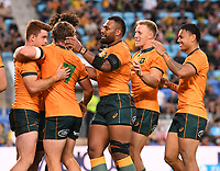 2nd October 2021, Cbus Super Stadium, Gold Coast, Queensland, Australia;  Players celebrate a try by Australian wing Andrew Kellaway. Australian Wallabies versus Argentina Pumas. Rugby Championship test match. Rugby Union. Gold Coast, Australia.
