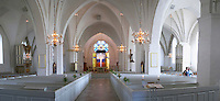 The Vaxjo cathedral church. The vaulted interior with the altar. Vaxjo town. Smaland region. Sweden, Europe.
