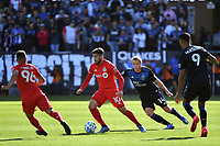 SAN JOSE, CA - FEBRUARY 29: Alejandro Pozuelo #10 of Toronto FC is marked by Jackson Yueill #14 of the San Jose Earthquakes during a game between Toronto FC and San Jose Earthquakes at Earthquakes Stadium on February 29, 2020 in San Jose, California.