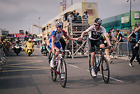 Luke Rowe (GBR/SKY) thanking Rudy Molard (FRA/Groupama-FDJ) crossing the finish line<br /> <br /> Stage 18: Trie-sur-Baïse > Pau (172km)<br /> <br /> 105th Tour de France 2018<br /> ©kramon