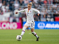 CARSON, CA - FEBRUARY 9: Emily Sonnett #2 of the United States dribbles during a game between Canada and USWNT at Dignity Health Sports Park on February 9, 2020 in Carson, California.