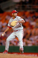 3 September 2005: Aquilino Lopez, pitcher for the Philadelphia Phillies, on the mound during a game against the Washington Nationals. The Nationals defeated the Phillies 5-4 at RFK Stadium in Washington, DC. <br />
