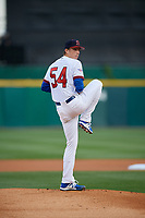 Buffalo Bisons starting pitcher Ryan Borucki (54) delivers a warmup pitch during a game against the Pawtucket Red Sox on August 31, 2017 at Coca-Cola Field in Buffalo, New York.  Buffalo defeated Pawtucket 4-2.  (Mike Janes/Four Seam Images)