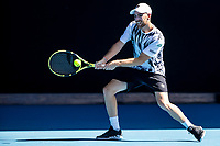 11th February 2021, Melbourne, Victoria, Australia; Adrian Mannarino of France returns the ball during round 3 of the 2021 Australian Open on February 12 2020, at Melbourne Park in Melbourne, Australia.
