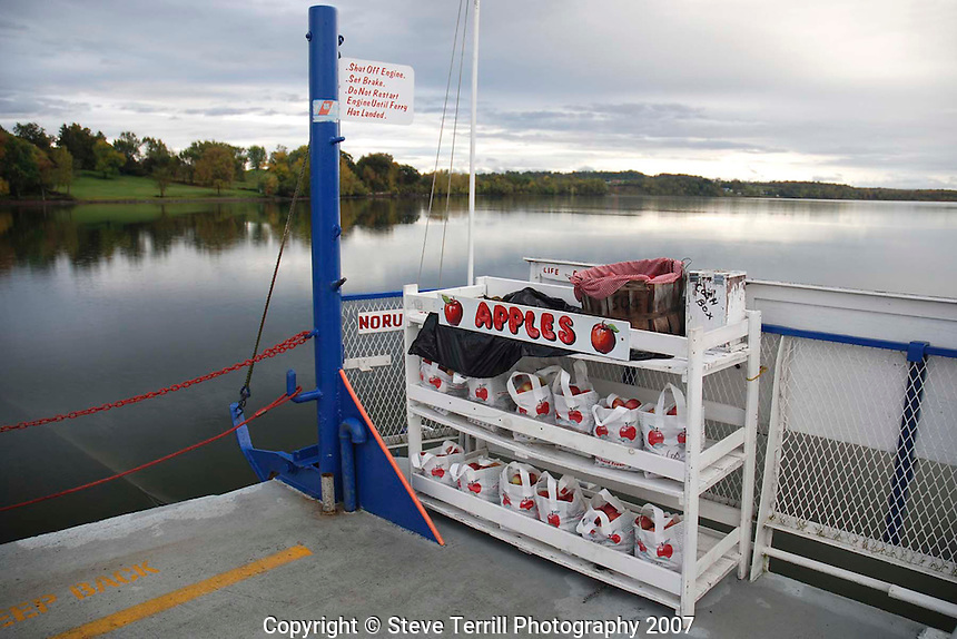 Apples on ferry across Lake Champlain between New York and Vermont