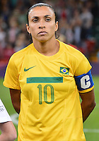 August 03, 2012 - Brazil's Marta during singing of National Anthem before Group F match between JPN and BRA at the Millennium Stadium. .