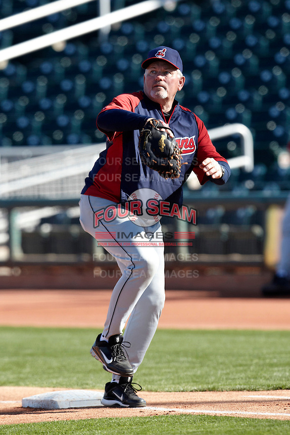 Former major league first baseman and manager Mike Hargrove playing first during a campers vs pros game at the Cleveland Indians Fantasy Camp at Goodyear Stadium on January 19, 2012 in Goodyear, Arizona.  (Mike Janes/Four Seam Images)