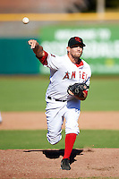 Scottsdale Scorpions pitcher Ryan Chaffee #52, of the Los Angeles Angels organization, during an Arizona Fall League game against the Surprise Saguaros at Scottsdale Stadium on October 16, 2012 in Scottsdale, Arizona.  Surprise defeated Scottsdale 11-3.  (Mike Janes/Four Seam Images)