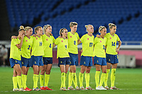YOKOHAMA, JAPAN - AUGUST 6: Players of Sweden dejected after a penalty miss during a game between Canada and Sweden at International Stadium Yokohama on August 6, 2021 in Yokohama, Japan.