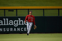 AZL Angels left fielder Jose Reyes (12) prepares to catch a fly ball during an Arizona League game against the AZL Cubs 1 on June 24, 2019 at Sloan Park in Mesa, Arizona. AZL Cubs 1 defeated the AZL Angels 12-0. (Zachary Lucy / Four Seam Images)