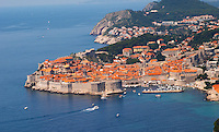 An aerial view over the Old Town and harbour Dubrovnik, old city. Dalmatian Coast, Croatia, Europe.