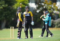 Wellington's Troy Johnson (left) and Luke Georgeson during the provincial cricket match between the Wellington A and Central Districts A at Karori Park in Wellington, New Zealand on Monday, 6 January 2020. Photo: Dave Lintott / lintottphoto.co.nz