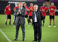 Former Swansea managers Brendan Rodgers and Brian Flynn (R) during the Swansea Legends v Manchester United Legends at The Liberty Stadium, Swansea, Wales, UK. Wednesday 09 August 2017