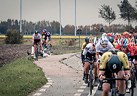 Pfeiffer Georgi (GBR/Sunweb) crashing out & being overrun by Alexis Ryan (USA/Canyon-SRAM)<br /> <br /> AG Driedaagse Brugge-De Panne 2020 (1.WWT)<br /> 1 day race from Brugge to De Panne (156km) <br /> <br /> ©kramon