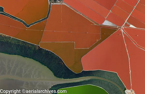 aerial map of salt ponds in Newark, Alameda County, California