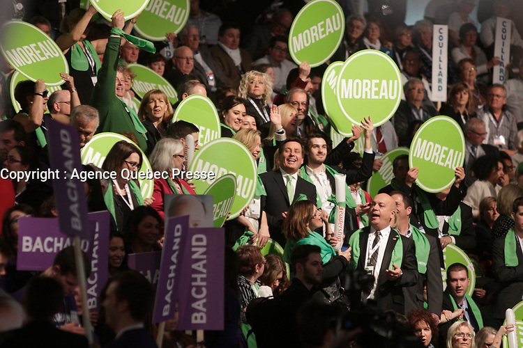 March 17,  2013 File Photo - Pierre Moreau  and supporters at the  Liberal Party of Quebec's leadership convention. Moreau  lost to Philippe Couillard who was elected as new leader.<br /> <br /> PHOTO : Pierre Roussel