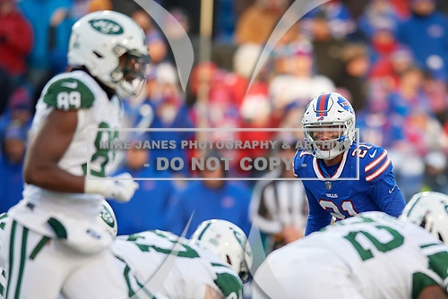 Buffalo Bills Jordan Poyer (21) on defense during an NFL football game against the New York Jets, Sunday, December 9, 2018, in Orchard Park, N.Y.  (Mike Janes Photography)