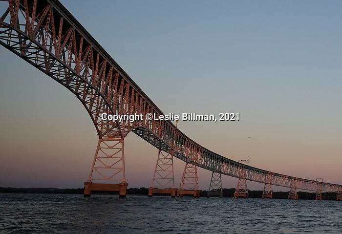 Chesapeake Bay Bridge, view to western shore at sunrise