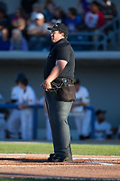 Home plate umpire Matt Beaver prior to the start of the Can-Am League game between the New Jersey Jackals and the Sussex County Miners at Skylands Stadium on July 29, 2017 in Augusta, New Jersey.  The Miners defeated the Jackals 7-0.  (Brian Westerholt/Four Seam Images)