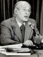 Quebec Premier Rene Levesque at press conference in Toronto<br /> <br /> 1979<br /> <br /> PHOTO :  Dick Loeb - Toronto Star Archives - AQP