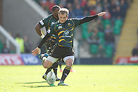Stephen Myler of Northampton Saints takes a penalty kick during the Heineken Cup match between Northampton Saints and Glasgow Warriors  at Franklin's Gardens on Sunday 14th October 2012 (Photo by Rob Munro)