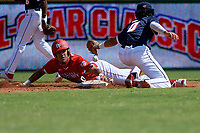 Shortstop Marcelo Mayer (10) attempts to tag Lonnie White Jr. (20) sliding into second base during the Baseball Factory All-Star Classic at Dr. Pepper Ballpark on October 4, 2020 in Frisco, Texas.  Lonnie White Jr. (20), a resident of Coatesville, Pennsylvania, attends Malvern Preparatory School.  (Mike Augustin/Four Seam Images)