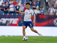 NASHVILLE, TN - SEPTEMBER 5: Antonee Robinson #5 of the United States warms up during a game between Canada and USMNT at Nissan Stadium on September 5, 2021 in Nashville, Tennessee.