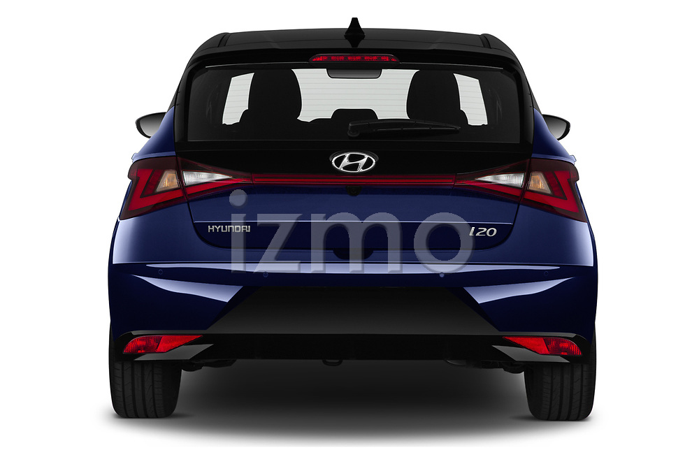 Straight rear view of 2021 Hyundai I20 Sky 5 Door Hatchback Rear View  stock images