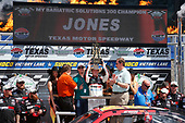 2017 NASCAR Xfinity Series<br /> My Bariatric Solutions 300<br /> Texas Motor Speedway, Fort Worth, TX USA<br /> Saturday 8 April 2017<br /> Erik Jones, Game Stop/ GAEMS Toyota Camry celebrates his victory<br /> World Copyright: Lesley Ann Miller/LAT Images<br /> ref: Digital Image lam_170408TX29537