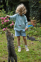 Little girl playing with a cat in the garden, Brittany, France.