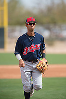 Cleveland Indians second baseman Brayan Rocchio (16) during a Minor League Spring Training game against the Chicago White Sox at Camelback Ranch on March 16, 2018 in Glendale, Arizona. (Zachary Lucy/Four Seam Images)