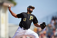 Pittsburgh Pirates relief pitcher Juan Nicasio (12) delivers a pitch during a Spring Training game against the Tampa Bay Rays on March 10, 2017 at LECOM Park in Bradenton, Florida.  Pittsburgh defeated New York 4-1.  (Mike Janes/Four Seam Images)