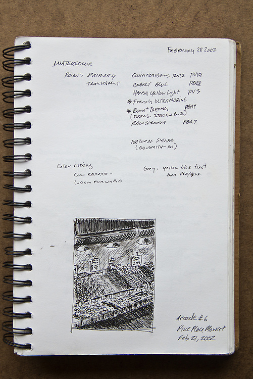 Seattle, Pike Place Market, Joel Rogers, Journal Art 2002, pen and ink,