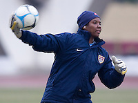 USA goalkeeper Briana Scurry throws the ball out during during practice for the Four Nations Tournament in Guangzhou, China on January 17, 2008.