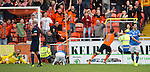 Dundee United v St Johnstone...27.09.14  SPFL<br /> Paul Paton wheels away to celebrate Dundee United's second goal as Simon Lappin shows his despair<br /> Picture by Graeme Hart.<br /> Copyright Perthshire Picture Agency<br /> Tel: 01738 623350  Mobile: 07990 594431