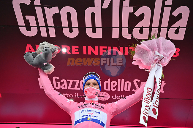 Joao Almeida (POR) Deceuninck-Quick Step takes over the race leaders Maglia Rosa at the end of Stage 3 of the 103rd edition of the Giro d'Italia 2020 running 150km from Enna to Etna (Linguaglossa-Piano Provenzana), Sicily, Italy. 5th October 2020.  <br /> Picture: LaPresse/Massimo Paolone   Cyclefile<br /> <br /> All photos usage must carry mandatory copyright credit (© Cyclefile   LaPresse/Massimo Paolone)