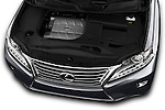 Car Stock 2015 Lexus RX 350 5 Door Suv 2WD Engine high angle detail view