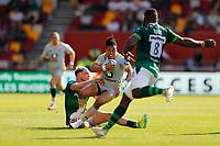 5th June 2021; Brentford Community Stadium, London, England; Gallagher Premiership Rugby, London Irish versus Wasps; Ollie Hassell-Collins of London Irish tackles Marcus Watson of Wasps
