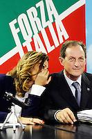 """Daniela Santanche'-Mario mantovani <br /> Milano 20/09/2013 Viale Monza<br /> conferenza stampa 'Da Pdl a Forza Italia' <br /> Press conference """"From PDL to Forza Italia"""" <br /> foto Andrea Ninni/Image/Insidefoto"""